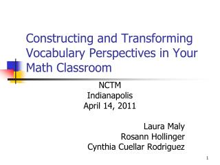Constructing and Transforming Vocabulary Perspectives in Your Math Classroom