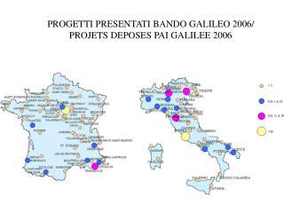 PROGETTI PRESENTATI BANDO GALILEO 2006/ PROJETS DEPOSES PAI GALILEE 2006