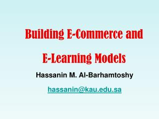 Building E-Commerce and  E-Learning Models