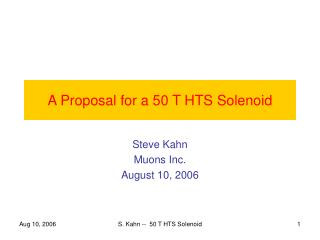 A Proposal for a 50 T HTS Solenoid