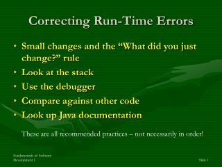 Correcting Run-Time Errors