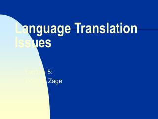 Language Translation Issues