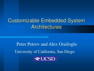 Customizable Embedded System Architectures