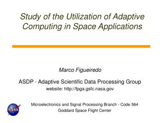 Study of the Utilization of Adaptive Computing in Space Applications