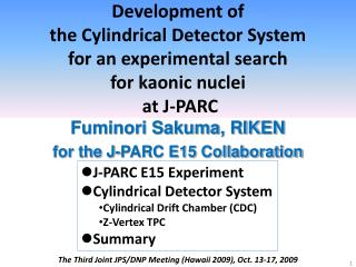 Fuminori Sakuma, RIKEN for the J-PARC E15 Collaboration