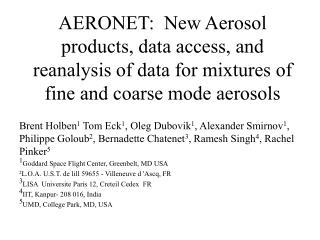 AERONET- An Internationally Federated Network