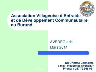 Association Villageoise d'Entraide  et de Développement Communautaire au Burundi
