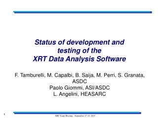 Status of development and testing of the XRT Data Analysis Software