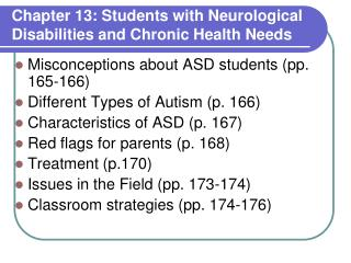 Chapter 13: Students with  Neurological Disabilities and Chronic Health Needs