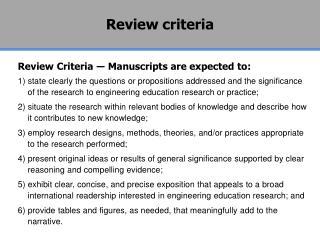 Review criteria