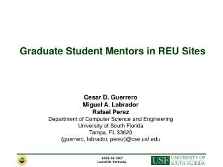 Graduate Student Mentors in REU Sites