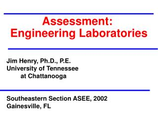 Assessment:  Engineering Laboratories