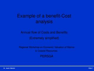 Example of a benefit-Cost analysis Annual flow of Costs and Benefits (Extremely simplified)
