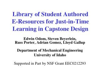 Library of Student Authored E-Resources for Just-in-Time Learning in Capstone Design