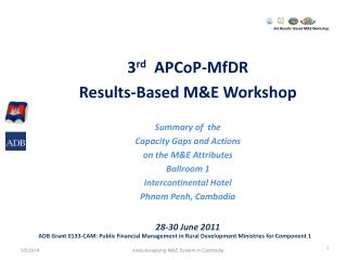 3rd Results- Based M&E Workshop