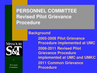 PERSONNEL COMMITTEE Revised Pilot Grievance Procedure