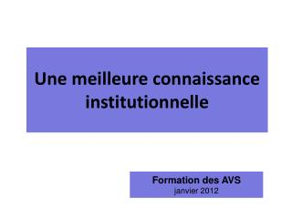 Formation des AVS janvier 2012