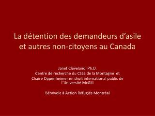 La détention des demandeurs d'asile et autres non-citoyens au Canada
