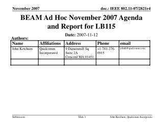 BEAM Ad Hoc November 2007 Agenda and Report for LB115