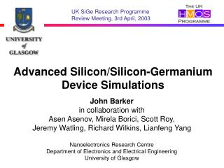 Advanced Silicon/Silicon-Germanium Device Simulations