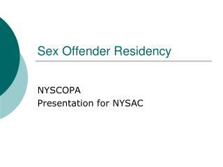 Sex Offender Residency