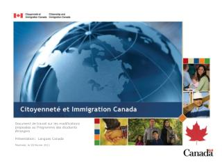 Document de travail sur les modifications proposées au Programme des étudiants étrangers