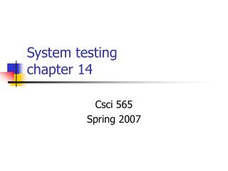 System testing chapter 14