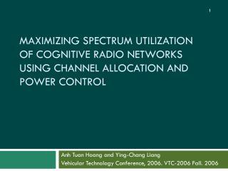 Anh Tuan Hoang and Ying-Chang Liang Vehicular Technology Conference, 2006. VTC-2006 Fall. 2006