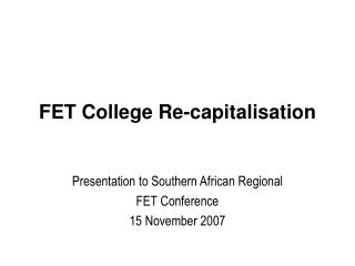 FET College Re-capitalisation
