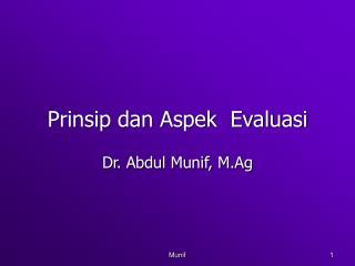 Prinsip dan Aspek  Evaluasi