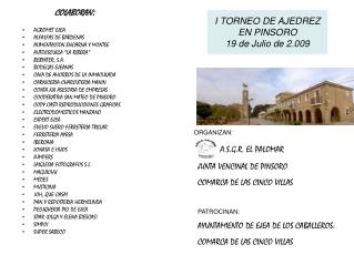 I TORNEO DE AJEDREZ EN PINSORO 19 de Julio de 2.009