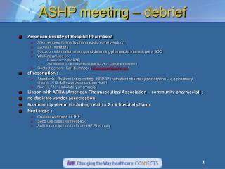 ASHP meeting – debrief