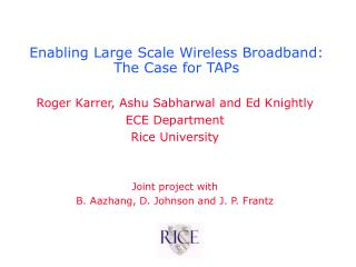 Enabling Large Scale Wireless Broadband:  The Case for TAPs
