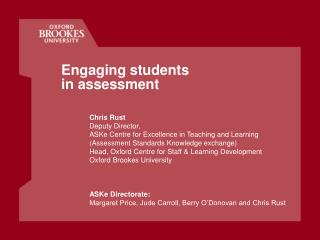 Engaging students  in assessment