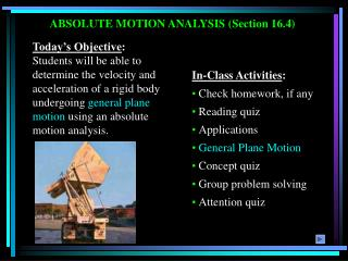 ABSOLUTE MOTION ANALYSIS Section 16.4