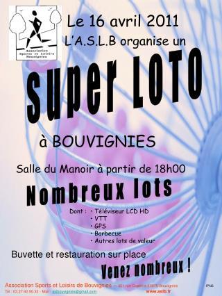 Association Sports et Loisirs de Bouvignies –  451 rue Coperce 59870 Bouvignies