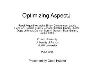 Optimizing AspectJ