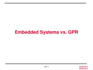 Embedded Systems vs. GPR