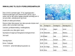 INNKALLING TIL ELEV-/FORELDRESAMTALER