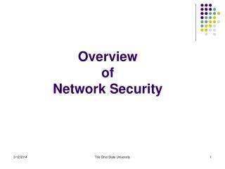 Overview  of  Network Security
