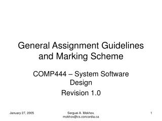 General Assignment Guidelines and Marking Scheme
