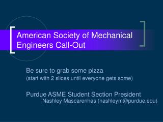 American Society of Mechanical Engineers Call-Out