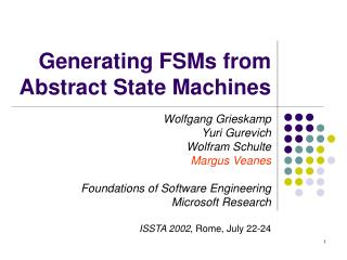 Generating FSMs from  Abstract State Machines