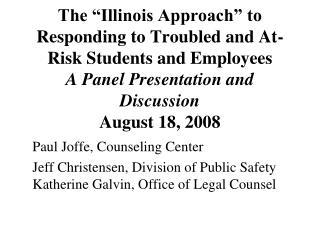 Paul Joffe, Counseling Center