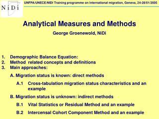 UNFPA/UNECE/NIDI Training programme on international migration, Geneva, 24-28/01/2005