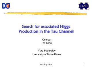 Search for associated Higgs Production in the Tau Channel