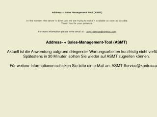 Address- + Sales-Management-Tool (ASMT)