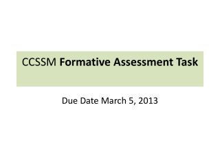 CCSSM  Formative Assessment Task