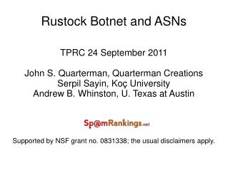 Rustock Botnet and ASNs