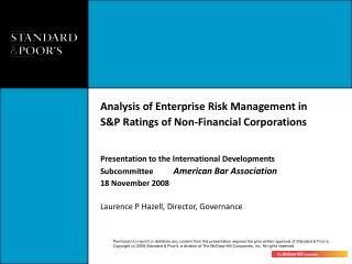 History of S&P Activity on Risk Management: Dual Tracks